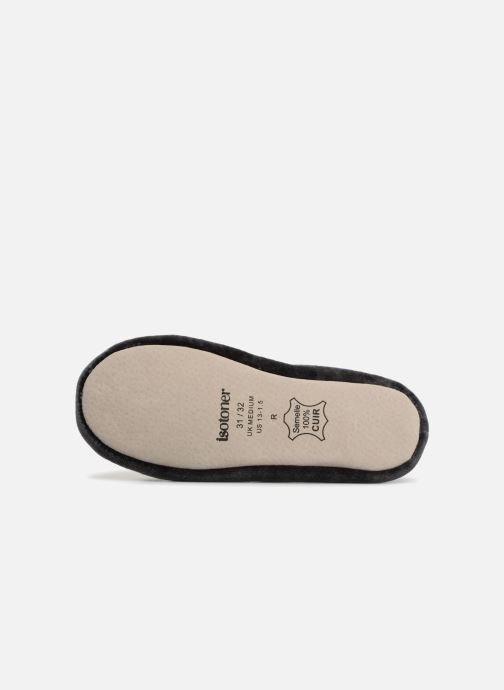 Slippers Isotoner Ballerine Velours Grand Nœud Strass Kids Grey view from above