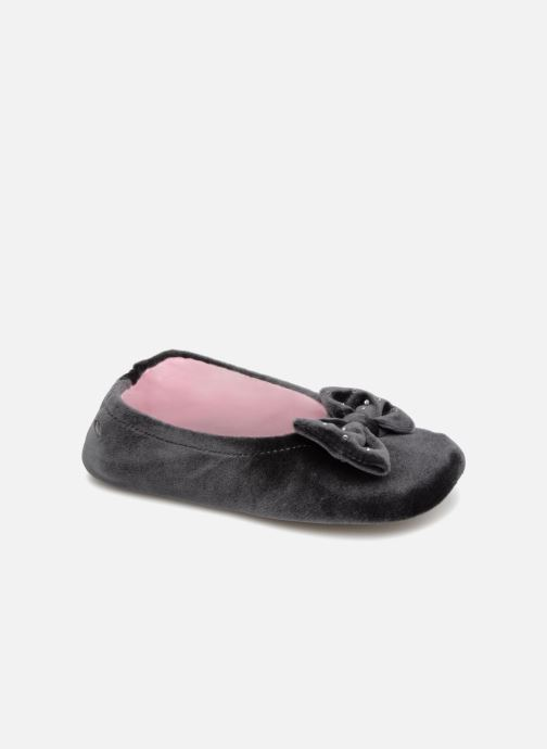 Slippers Isotoner Ballerine Velours Grand Nœud Strass Kids Grey detailed view/ Pair view