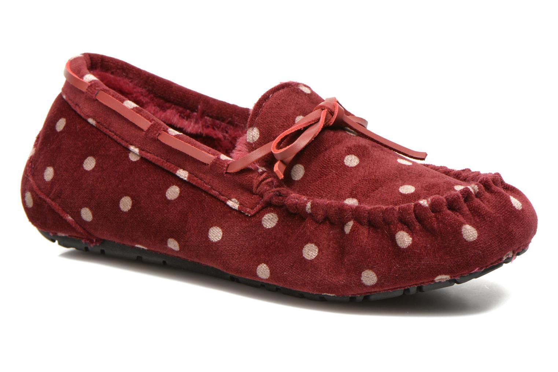 Tofflor Ruby Brown Mae Röd detaljerad bild på paret