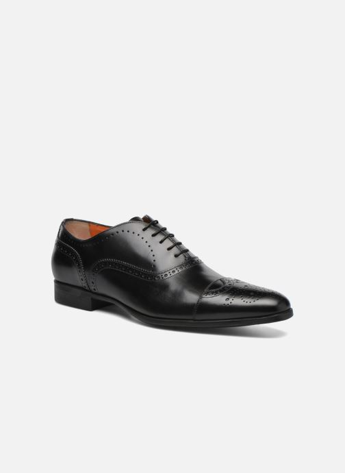Lace-up shoes Santoni William 14431 Black detailed view/ Pair view