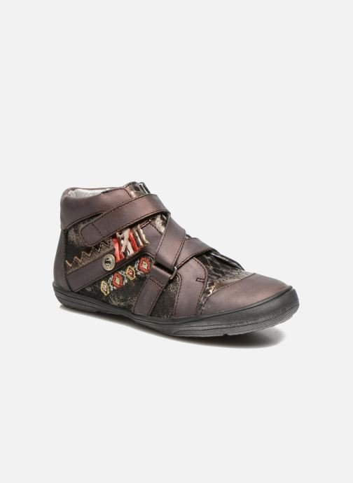 Velcro shoes Catimini Calamar Bronze and Gold detailed view/ Pair view