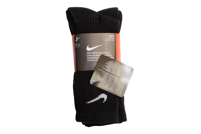Chaussettes et collants Nike Chaussettes de sport 3P Yth Ctn Cush Crew W/ Moist Noir vue face