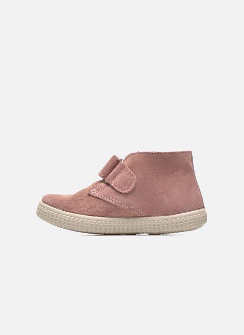 Zapatos con velcro Victoria Safari Serraje Velcro Rosa vista de frente