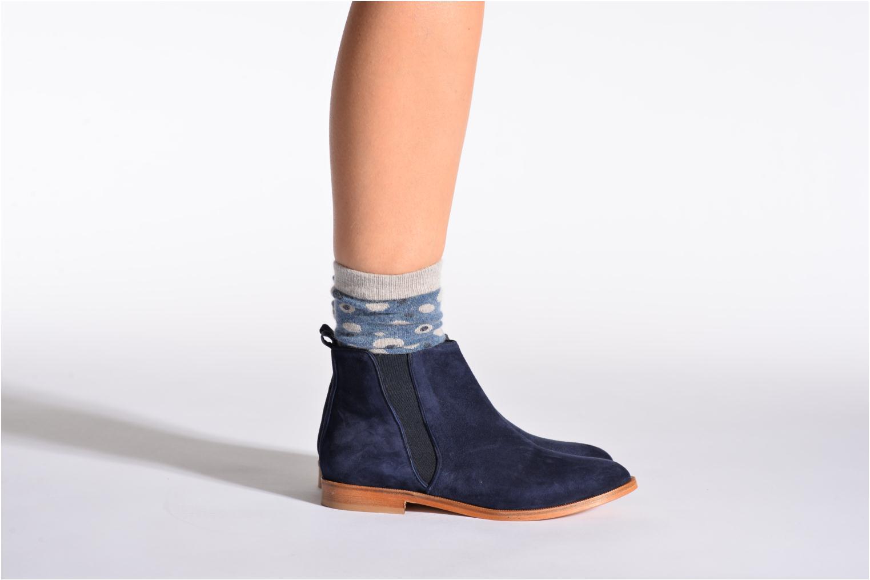 Chaussettes et collants Doré Doré Chaussettes POIS Bleu vue portées chaussures