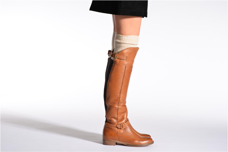 Chaussettes et collants Doré Doré Chaussettes TORSADES Beige vue portées chaussures
