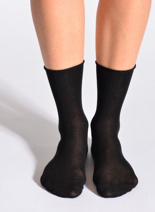 Socks & tights BLEUFORÊT Chaussettes fleur de peau Black detailed view/ Pair view