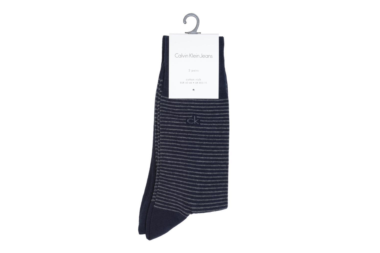 Chaussettes et collants Calvin Klein Chaussettes STRIPES Pack de 2 Bleu vue portées chaussures