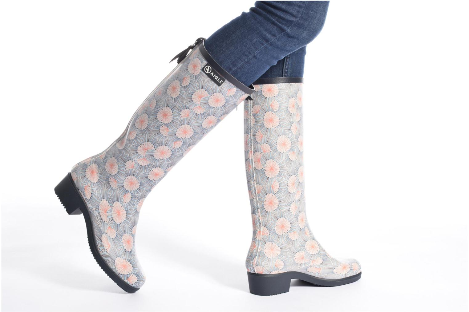 Boots & wellies Aigle Miss Juliette Print Blue view from underneath / model view