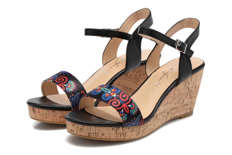 Sandales et nu-pieds Divine Factory Alexina Noir vue 3/4