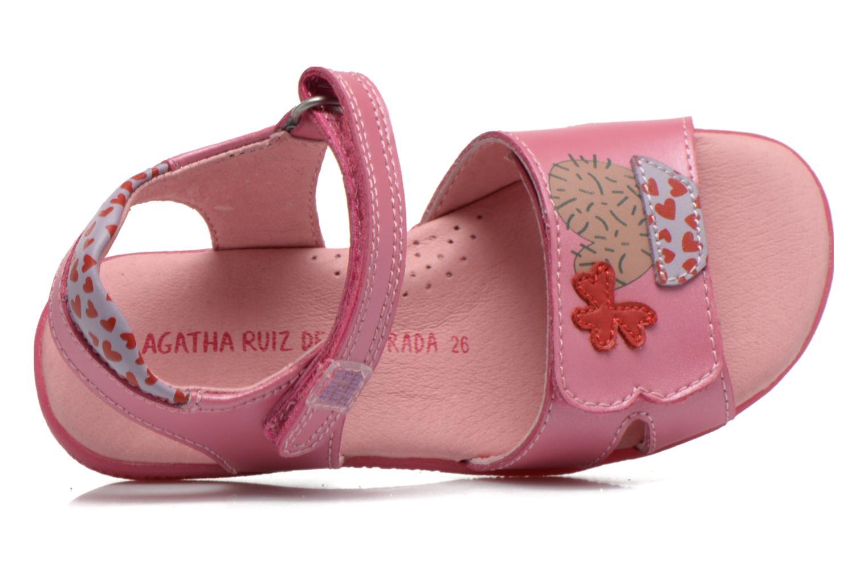 Sandalias Agatha Ruiz de la Prada Jardino Rosa vista lateral izquierda
