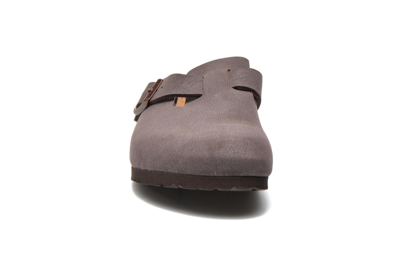 Mules et sabots Birkenstock Boston Bf Nubuck W Marron vue portées chaussures