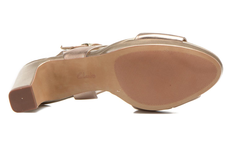 Sandales et nu-pieds Clarks Jenness Soothe Or et bronze vue haut