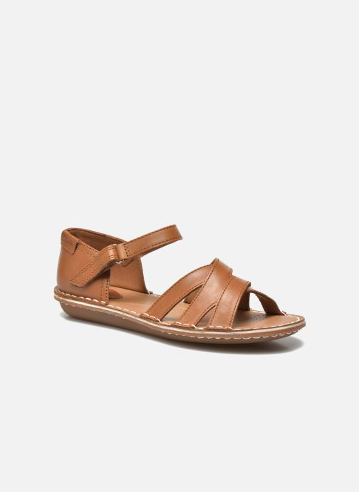 Sandals Clarks Tustin Sahara Brown detailed view/ Pair view
