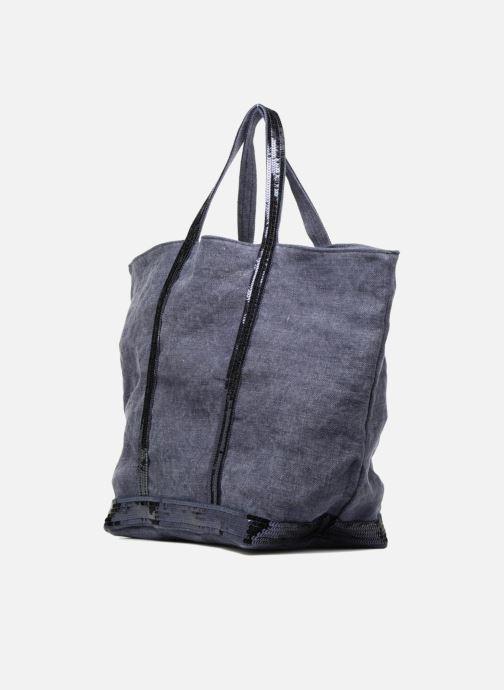 Borse Vanessa Bruno Cabas Lin paillettes M+ Azzurro modello indossato