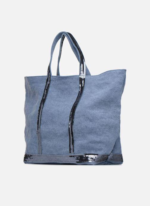 Sacs à main Vanessa Bruno Cabas Lin paillettes M+ Bleu vue portées chaussures