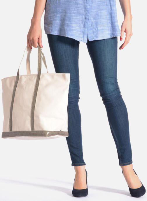 Bolsos de mano Vanessa Bruno Cabas Coton M+ Zip Gris vista de abajo