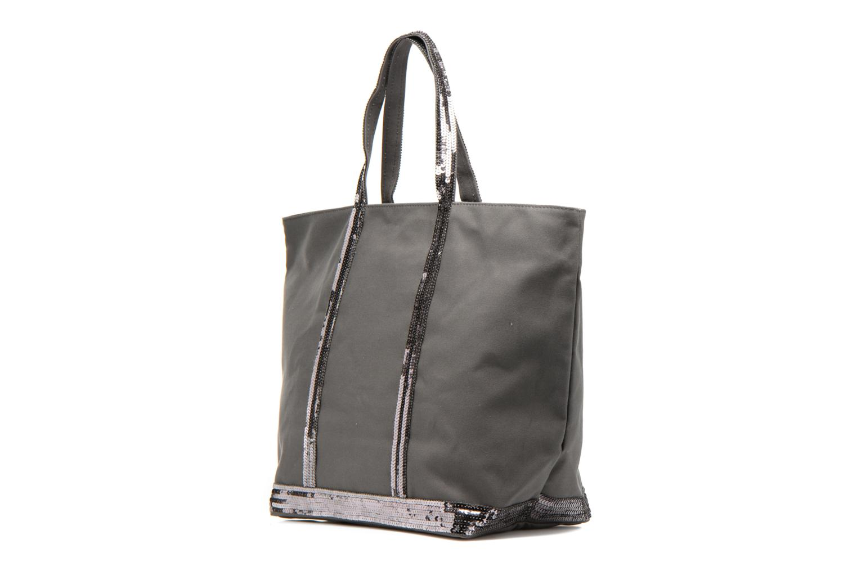 Handbags Vanessa Bruno Cabas Coton M+ Zip Grey view from the right