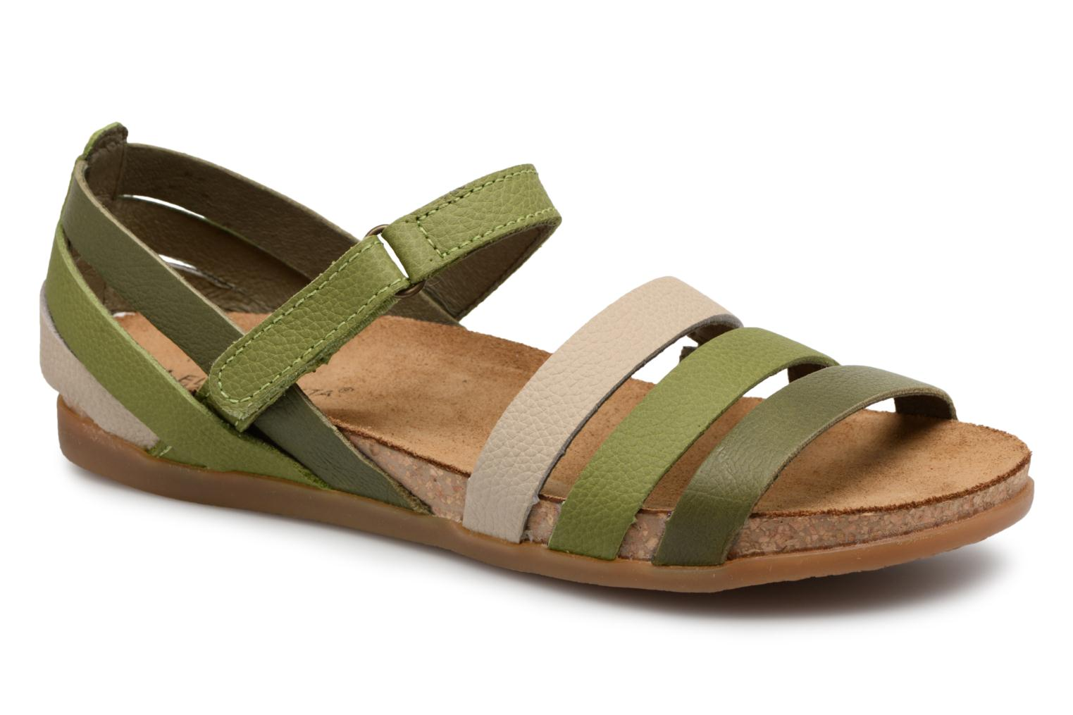 Sandals El Naturalista Zumaia NF42 Green detailed view/ Pair view