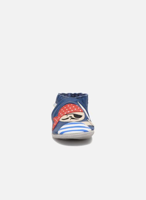 Hausschuhe Robeez Jolly Peg blau schuhe getragen