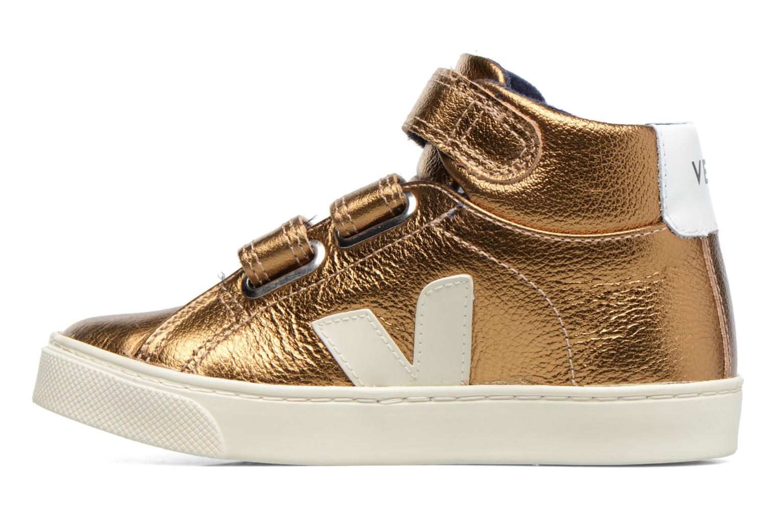 Baskets Veja Esplar Mid Small Velcro Or et bronze vue face