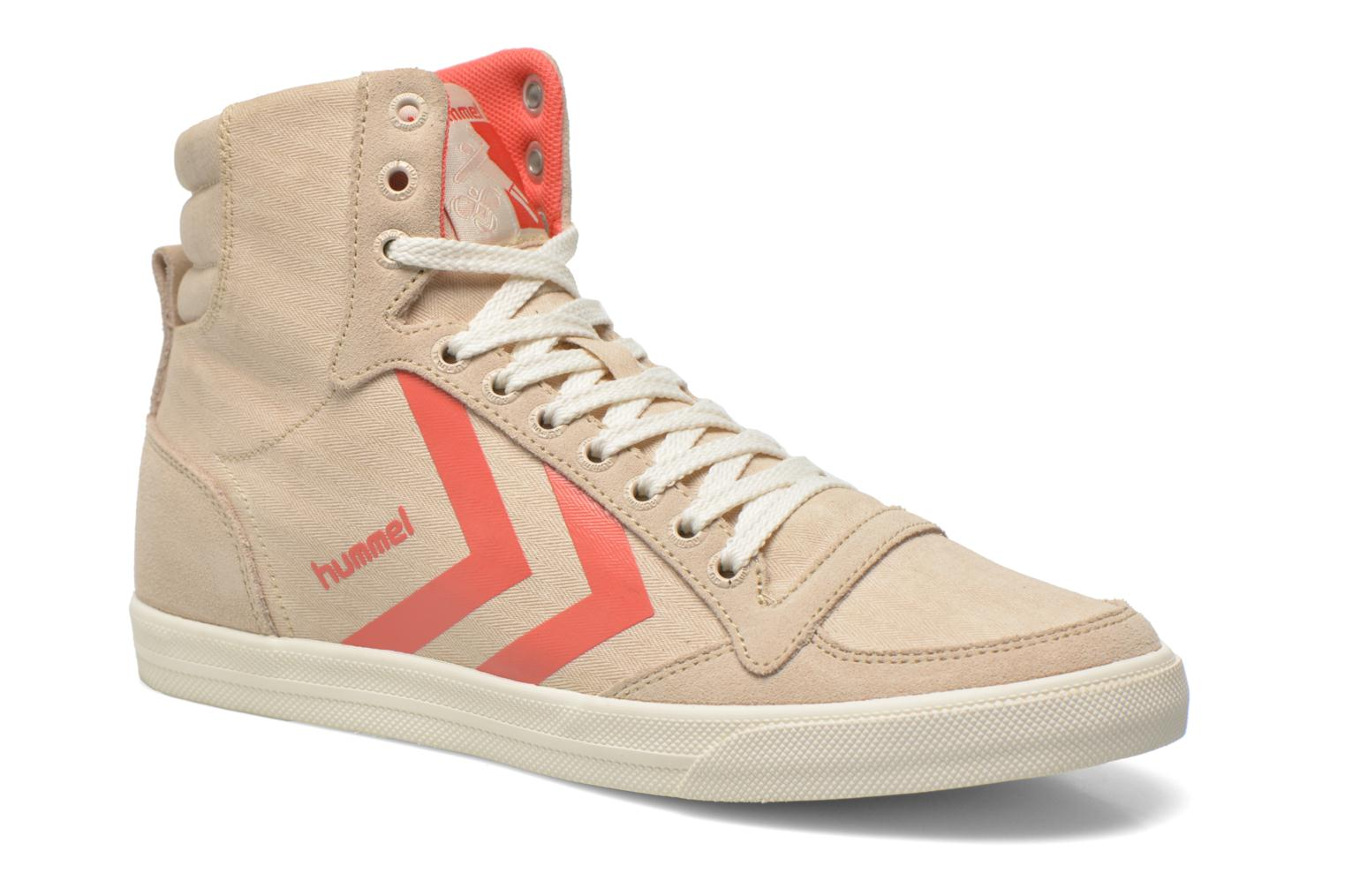 Baskets Hummel Ten Star Smooth Hi Beige vue détail/paire
