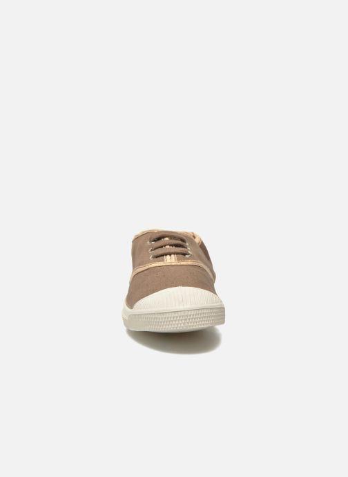 Baskets Bensimon Tennis Lacets Shinypiping E Marron vue portées chaussures