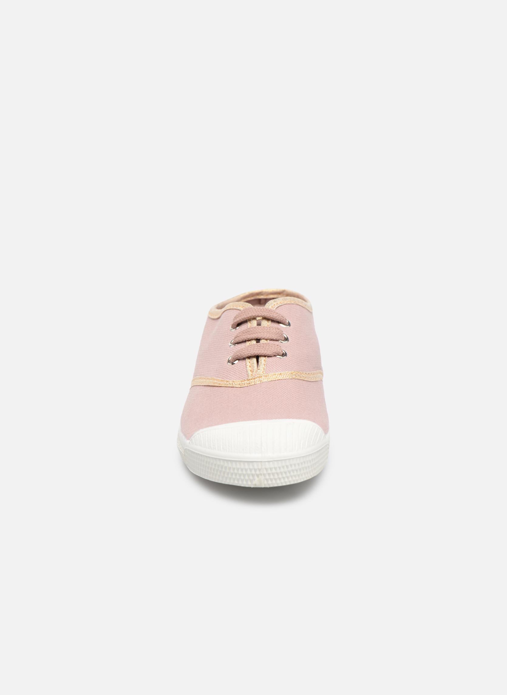 Baskets Bensimon Tennis Lacets Shinypiping E Rose vue portées chaussures