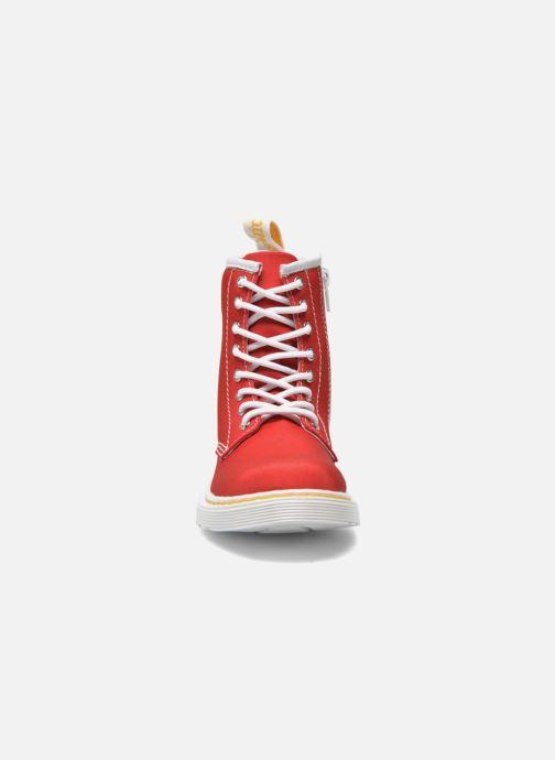 Stivaletti e tronchetti DR. Martens Juniors Delaney Lace Boot Canvas Rosso modello indossato
