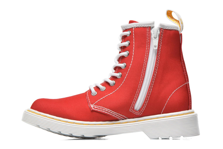 Bottines et boots Dr. Martens Juniors Delaney Lace Boot Canvas Rouge vue face