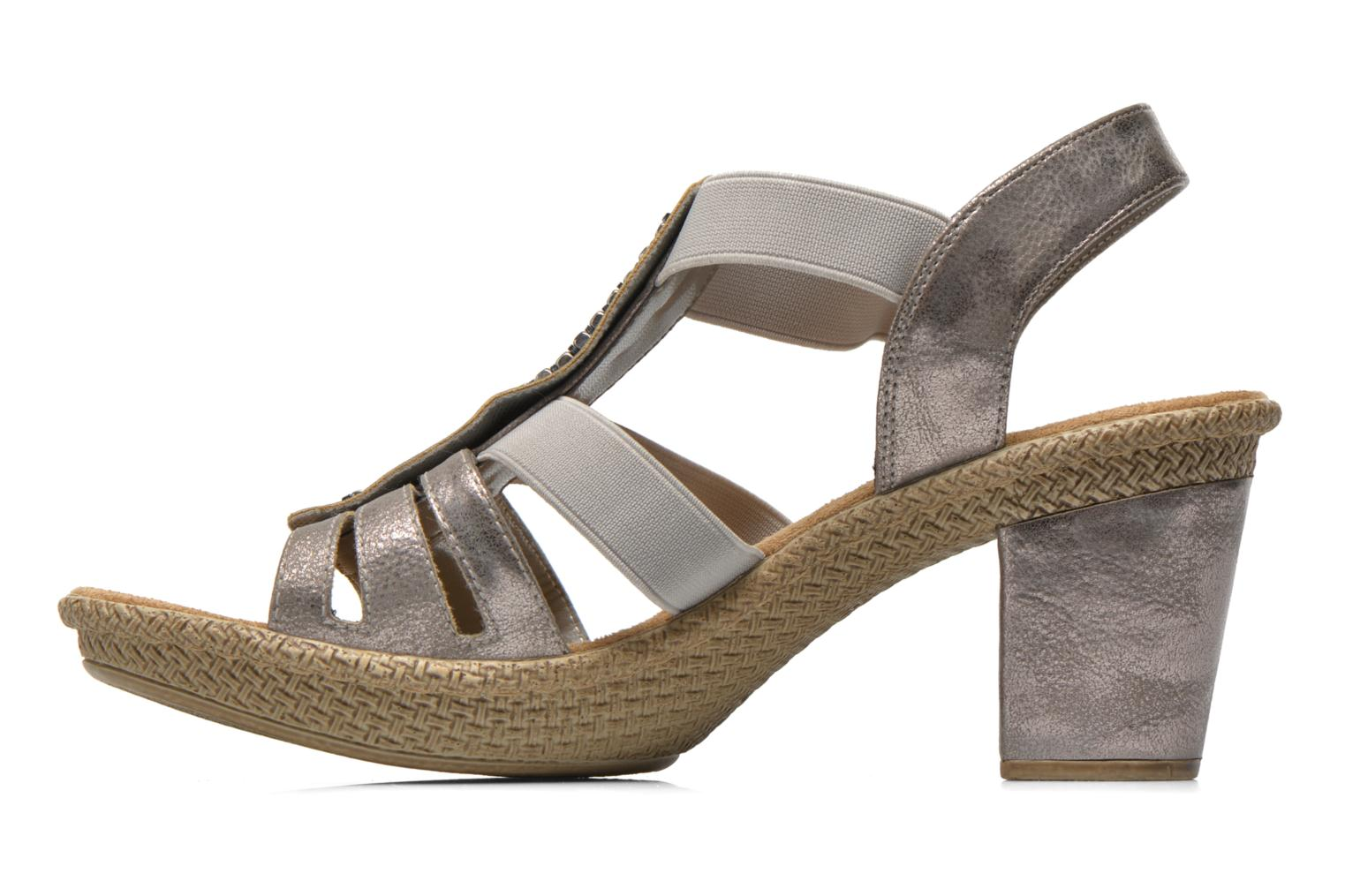 Sandals Rieker Party 66584 Grey front view