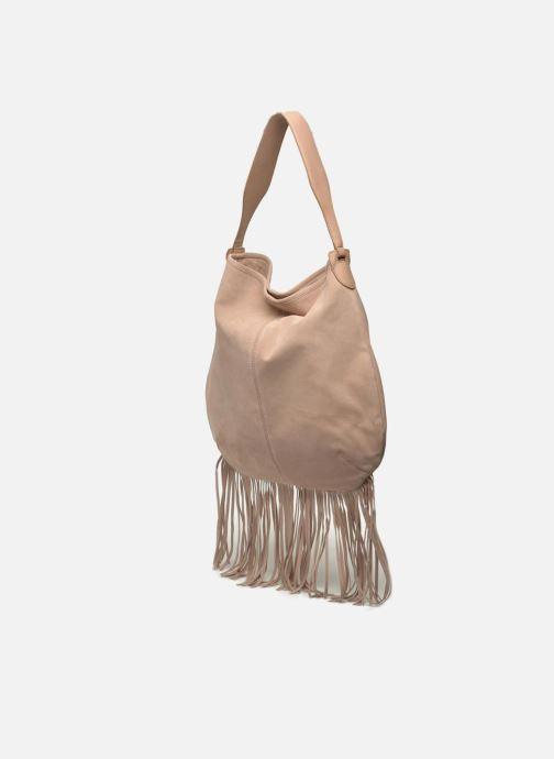 Borse Pieces Tabatha suede Obo bag Rosa modello indossato
