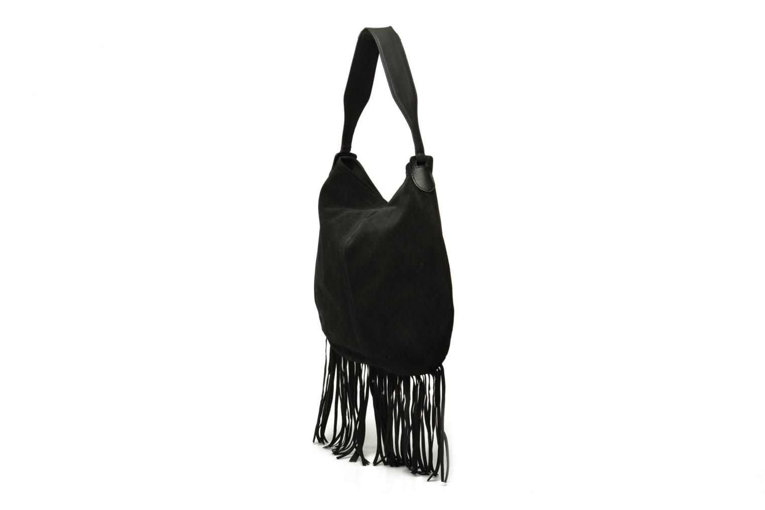 Handbags Pieces Tabatha suede Obo bag Black view from the right