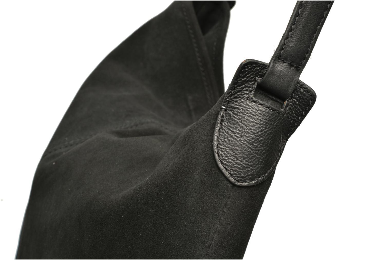 Bolsos de mano Pieces Tabatha suede Obo bag Negro vista lateral izquierda