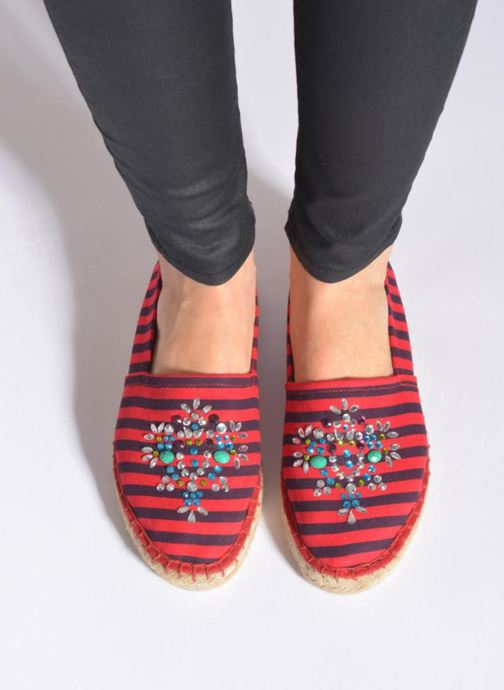 Espadrilles Colors of California Poshpadrille rayure Rood onder