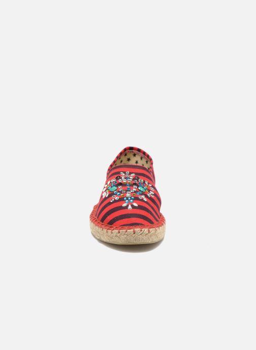 Scarpe di corda Colors of California Poshpadrille rayure Rosso modello indossato