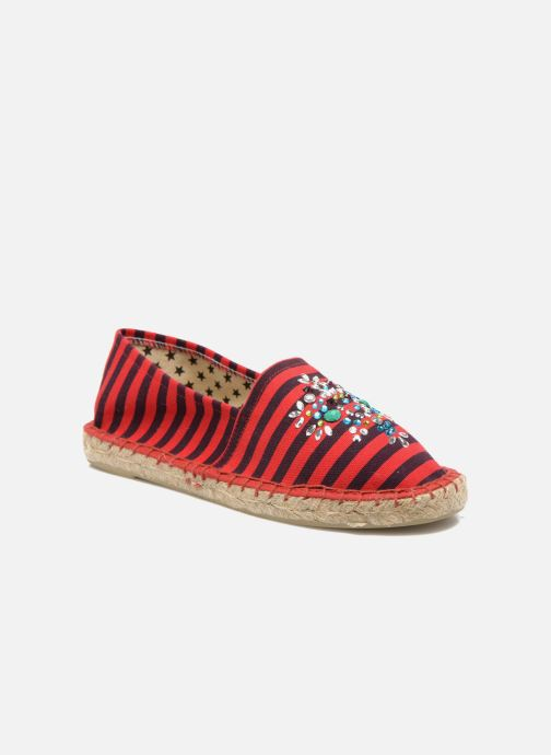 Espadrilles Colors of California Poshpadrille rayure Rood detail