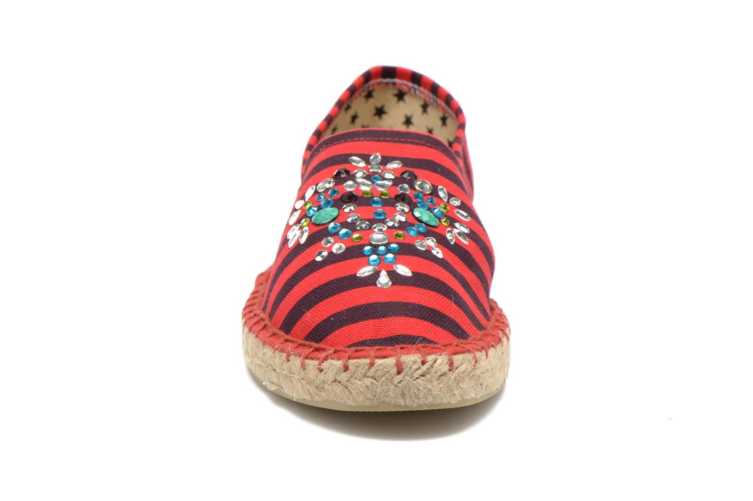 Espadrilles Colors of California Poshpadrille rayure Rouge vue portées chaussures