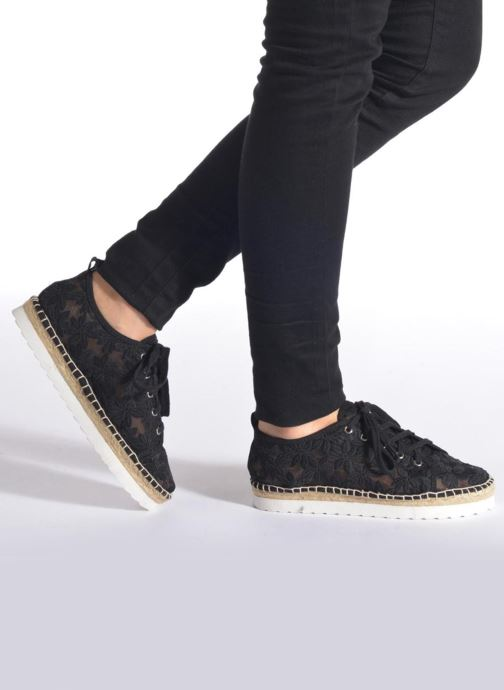 Espadrilles Colors of California Poshpadrille lacet Black view from underneath / model view