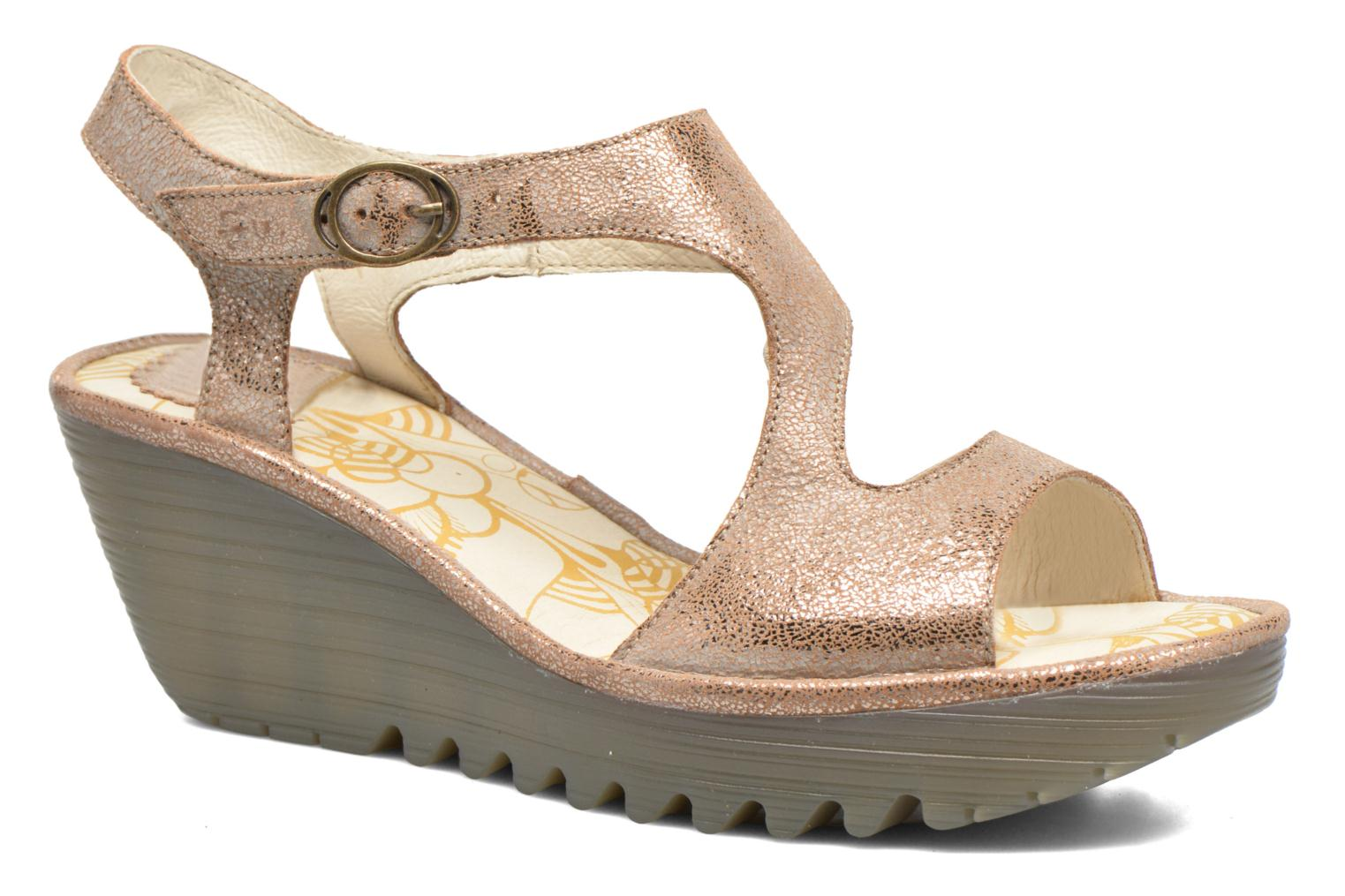 Sandals Fly London Yanca Beige detailed view/ Pair view