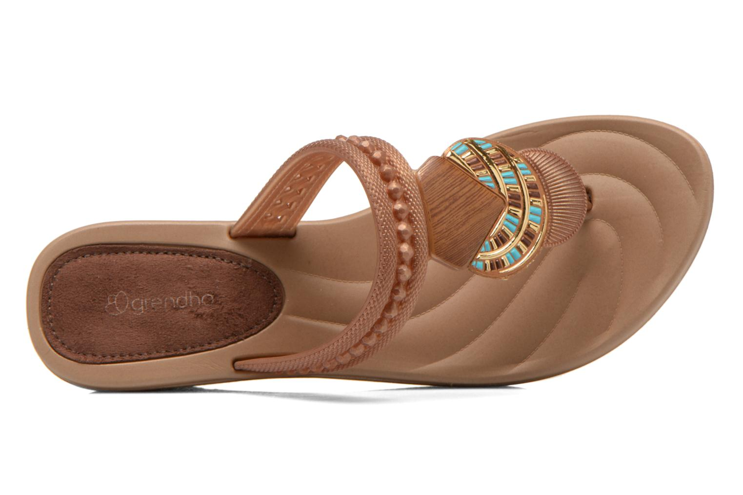 Flip flops Grendha Tribal Plat Fem Brown view from the left