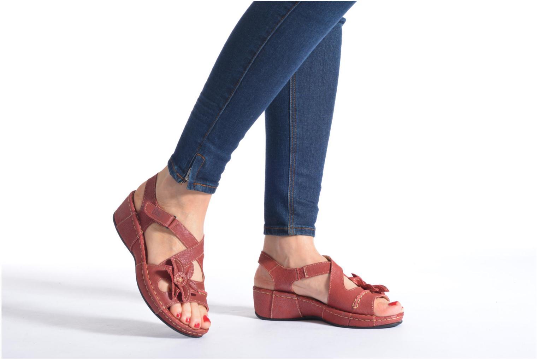 Sandals TBS Easy Walk Vorael Burgundy view from underneath / model view
