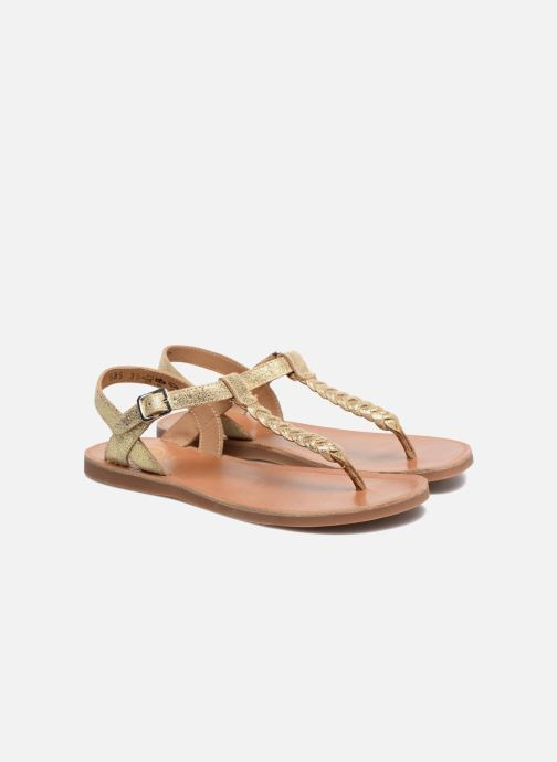 Sandals Pom d Api Plagette Antic Tong Bronze and Gold 3/4 view