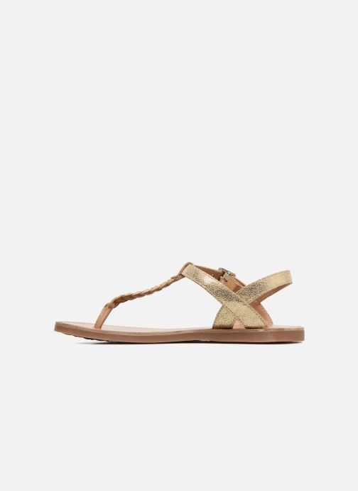 Sandals Pom d Api Plagette Antic Tong Bronze and Gold front view