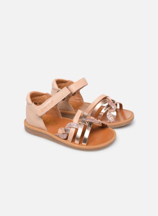 Sandales et nu-pieds Pom d Api Poppy Tresse Rose vue 3/4