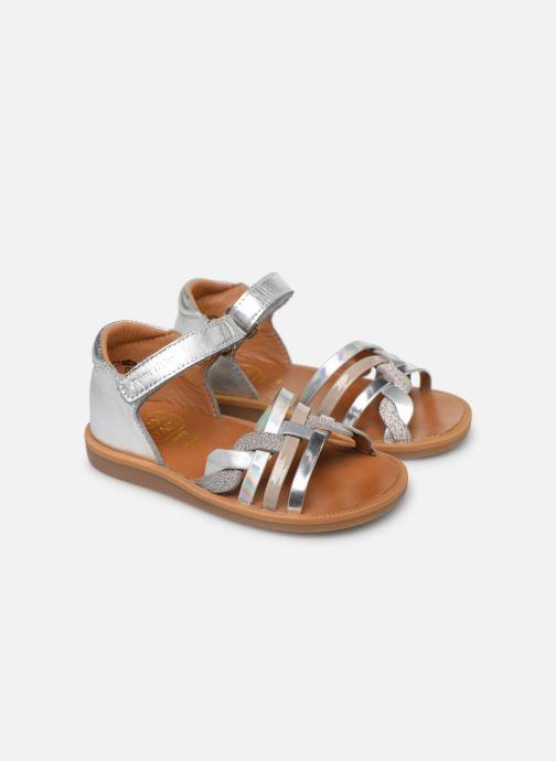 Sandales et nu-pieds Pom d Api Poppy Tresse Argent vue 3/4