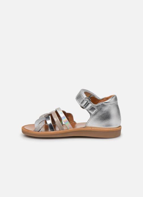 Sandales et nu-pieds Pom d Api Poppy Tresse Argent vue face