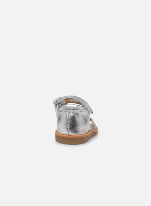 Sandales et nu-pieds Pom d Api Poppy Tresse Argent vue droite