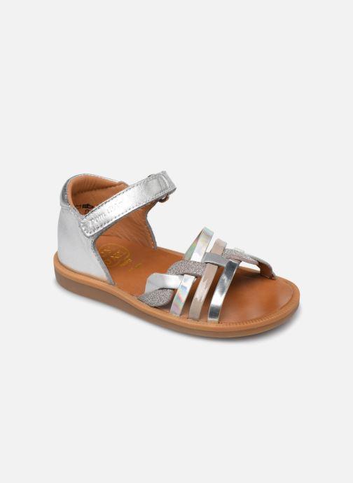 Sandales et nu-pieds Pom d Api Poppy Tresse Argent vue détail/paire