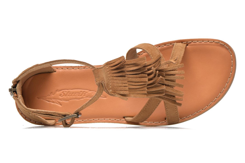 Sandali e scarpe aperte Shwik Lazar Fringe Suede Marrone immagine sinistra