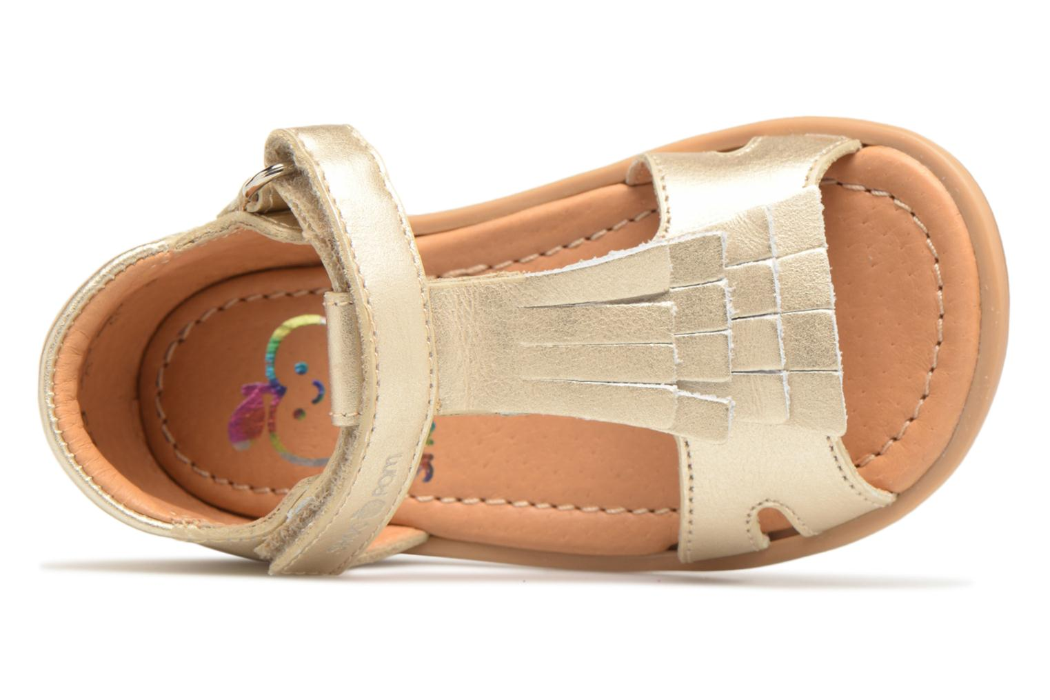 Sandals Shoo Pom Tity Fringe Bronze and Gold view from the left